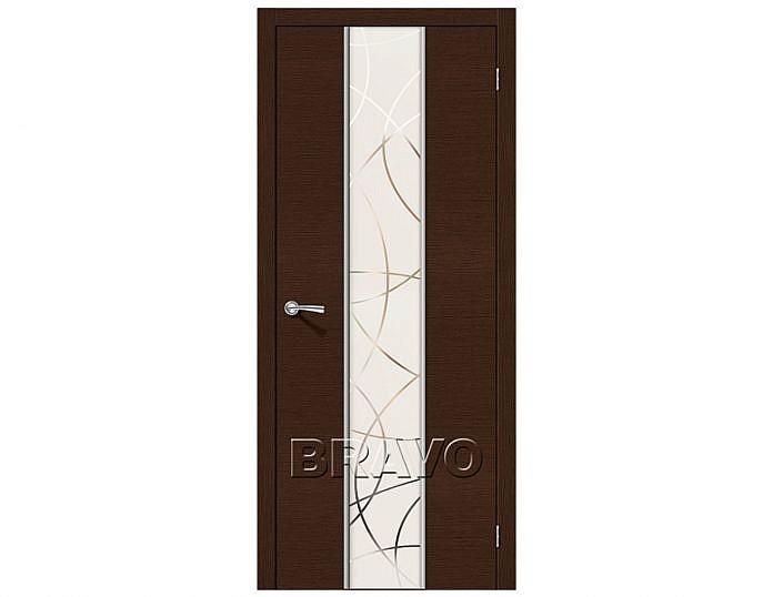 Межкомнатная дверь Карат Зеркало белое художественное Венге