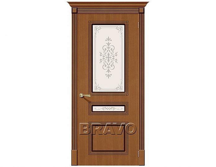 Межкомнатная дверь Стиль Сатинато белое художественное Орех
