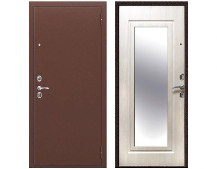Входная дверь Спарта Зеркало Капучино 60 мм