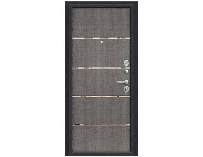 Входная дверь «БРАВО» МОДЕЛЬ Лайн Лунный камень/Grey Crosscut