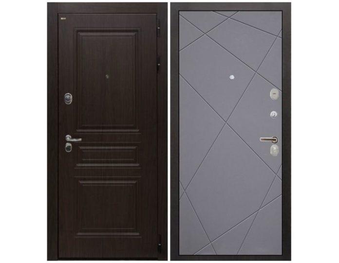 Входная дверь Интекрон Брайтон Лучи-М (Тиковое дерево / Софт графит)