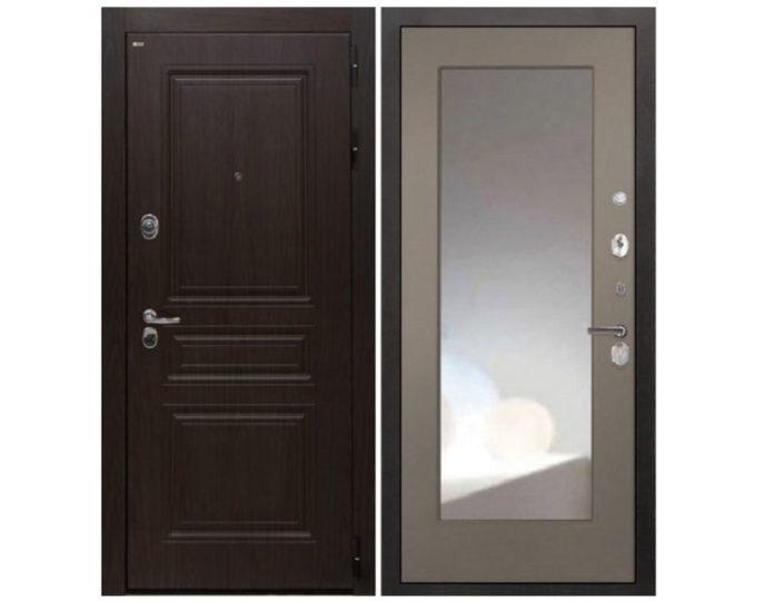 Входная дверь Интекрон Брайтон ФЛЗ-М с зеркалом (Тиковое дерево / Силк муссон)